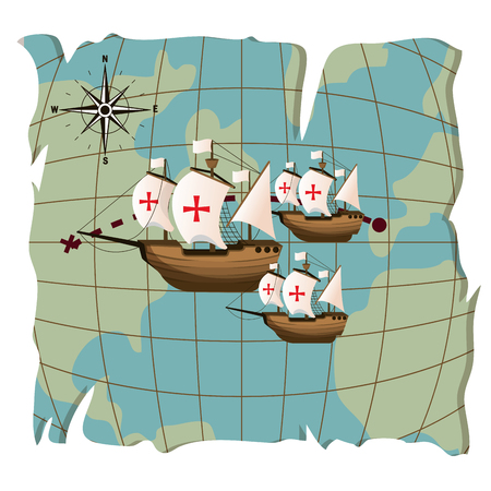 Columbus day ships on world map vector illustration graphic dsign