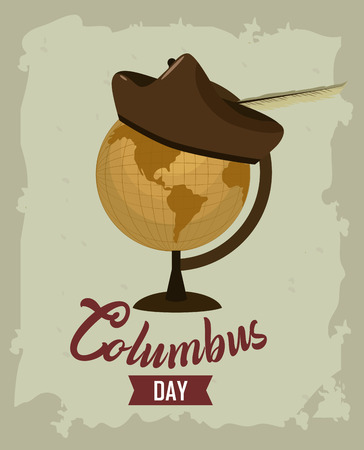 Happy columbus day card with elements and cartoons vector illustration graphic dsign Vector Illustration