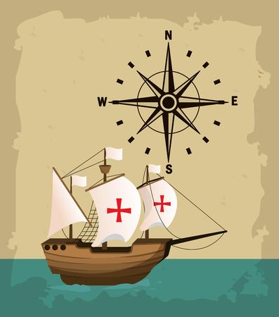 Barco del día de la raza en el mar con diseño gráfico de ilustración de vector de brújula