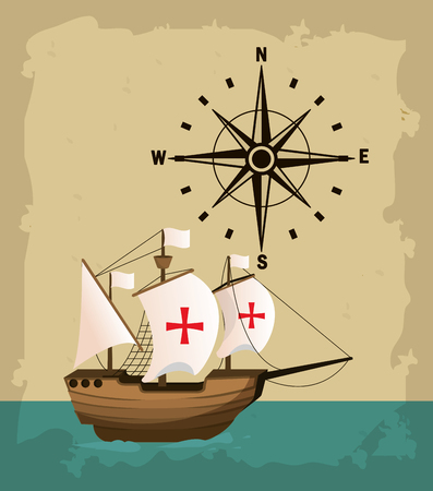 Columbus day ship on sea with compass vector illustration graphic dsign