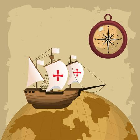 Barco del día de la raza y brújula en el diseño gráfico del ejemplo del vector del globo del mundo