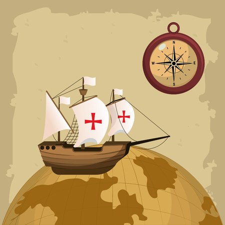 Columbus dag schip en kompas op wereldbol vector illustratie grafische dsign