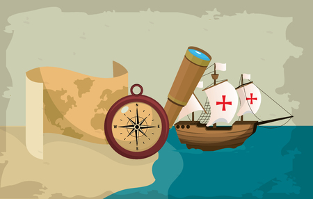 Columbus day ship on sea and map with compass vector illustration graphic dsign