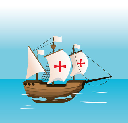 Columbus day ship navigating on sea vector illustration graphic dsign