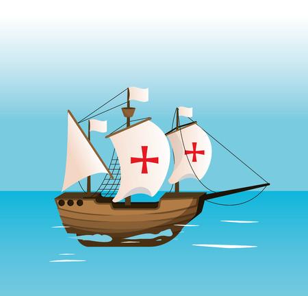 Columbus day ship navigating on sea vector illustration graphic dsign