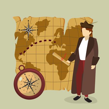 Columbus discovering america avatar cartoon vector illustration graphic dsign Vetores