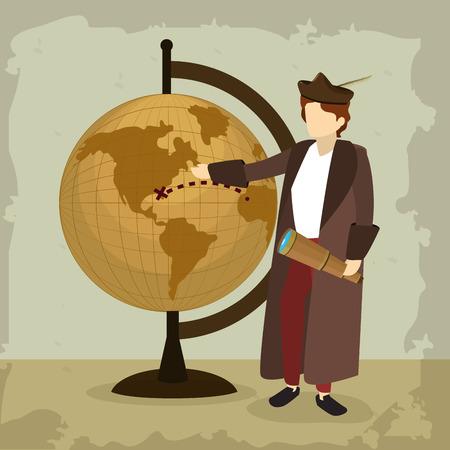 Columbus discovering america avatar cartoon vector illustration graphic dsign Vector Illustration