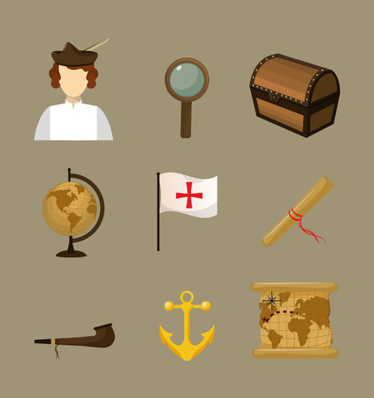 Set of columbus day icons collection vector illustration graphic dsign Vector Illustration