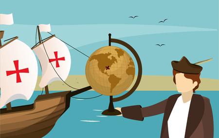 Columbus descubriendo diseño gráfico de ilustración de vector de dibujos animados de avatar de américa