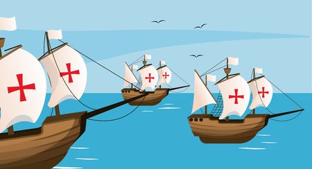 Columbus day with ships on sea cartoons vector illustration graphic dsign