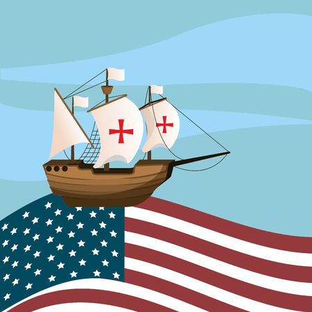 Columbus day ship navigating on USA flag vector illustration graphic dsign Çizim