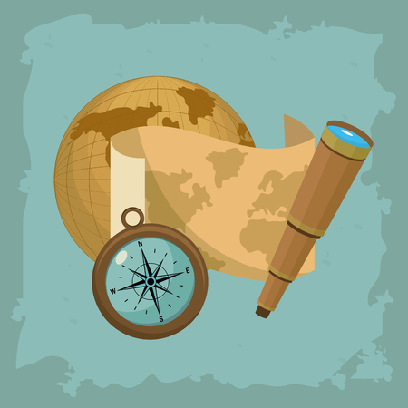 Columbus day world and map with telescope vector illustration graphic dsign Archivio Fotografico - 110172584