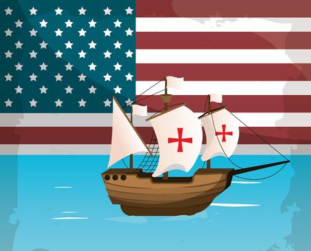 Columbus day ship navigating on usa flag vector illustration graphic dsign