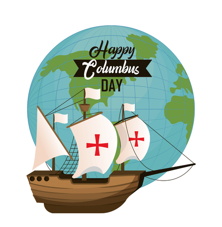 Happy Columbus day card with elements and cartoons vector illustration graphic dsign