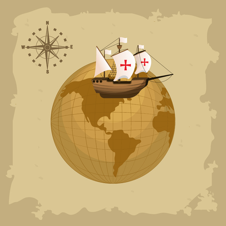 Columbus day ship and compass on world globe vector illustration graphic dsign Archivio Fotografico - 110172591