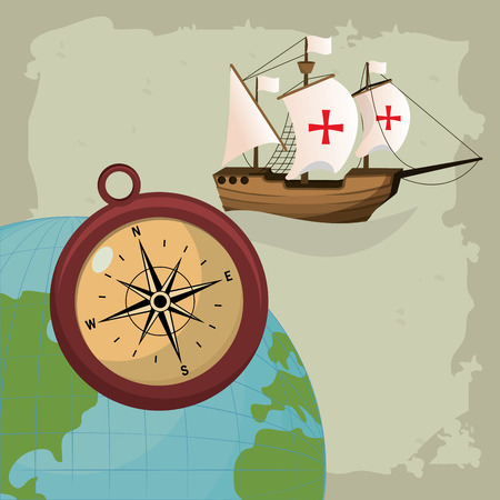 Columbus day compass and ship with world vector illustration graphic dsign Archivio Fotografico - 110172593