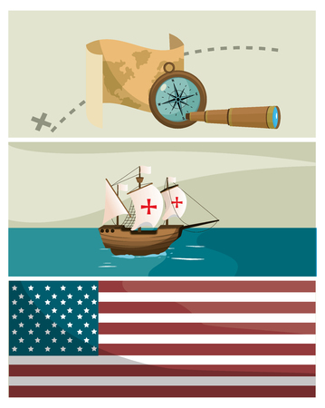 Columbus day cartoons on frames vector illustration graphic dsign