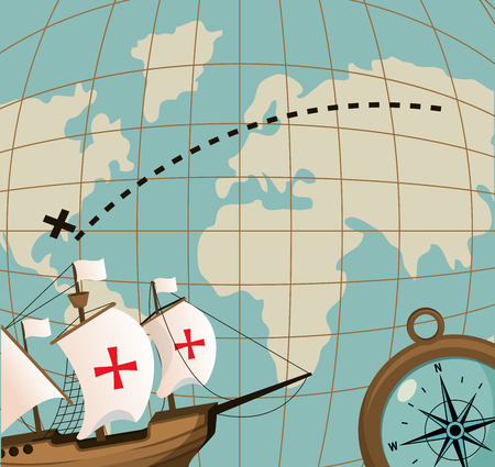 Columbus day ship and compass on world map vector illustration graphic dsign