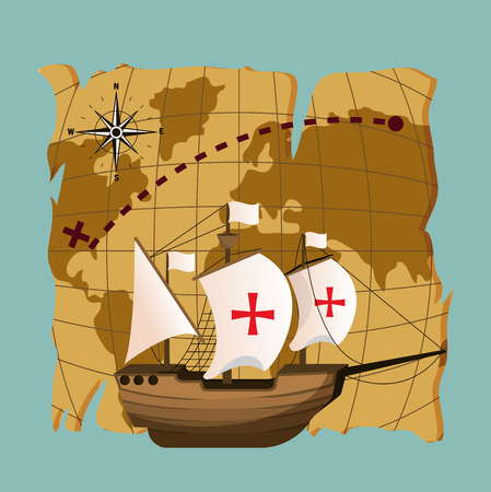 Columbus day ship on vintage world map vector illustration graphic dsign