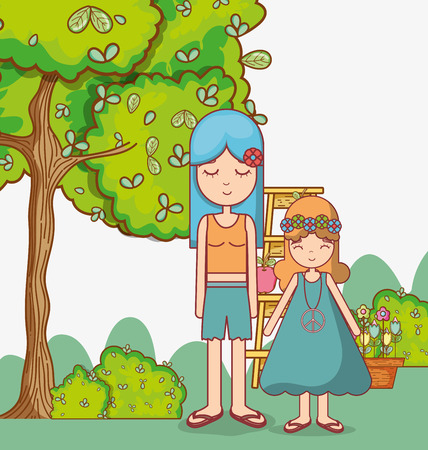 Hippie mom with daugther at nature cartoon vector illustration graphic design