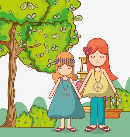 pareja hippie en la naturaleza