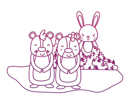 degraded outline nice bear couple with rabbit in the bush vector illustration