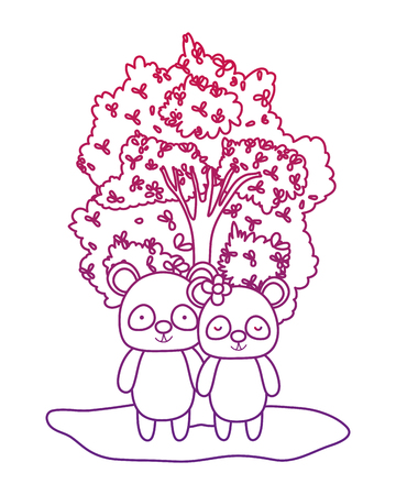 degraded outline adorable panda couple animal and tree