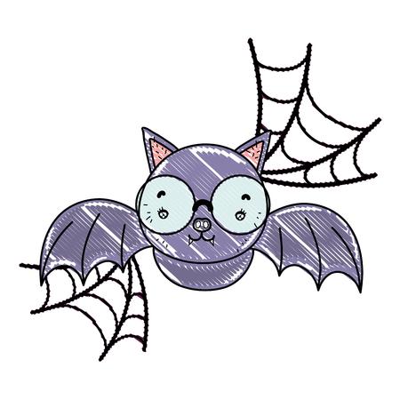 grated bat flying wearing glasses and spiderweb vector illustration Ilustração