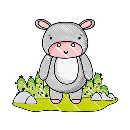 grated happy hippopotamus wild animal in the landscape vector illustration