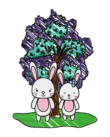 grated nice rabbit couple animal and tree vector illustration