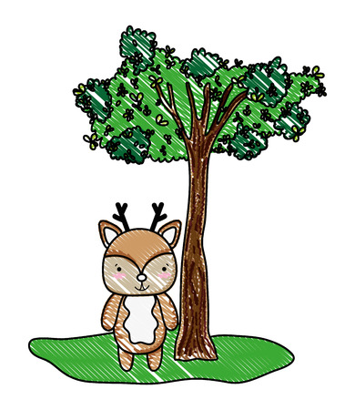 grated cute deer wild animal and tree vector illustration