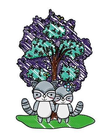 grated beauty raccoon wild animal and tree vector illustration Illustration