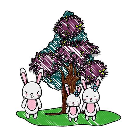 grated adorable rabbits family animal and tree vector illustration Ilustração