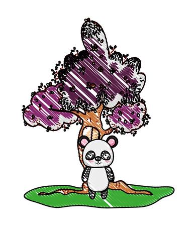 grated tree with window and cute panda wild animal
