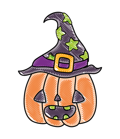 grated happy pumpkin with witch hat decoration vector illustration