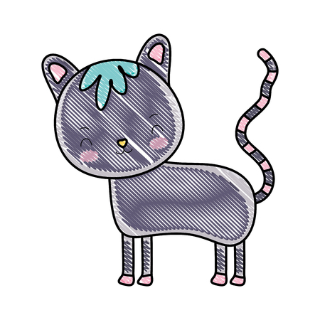 grated happy cat cute pet animal vector illustration