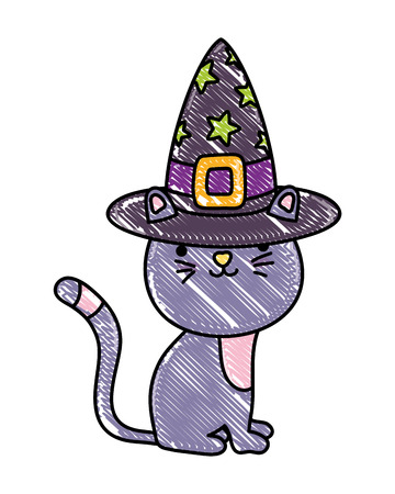 grated happy cat animal with witch hat vector illustration