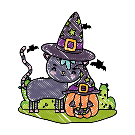 grated nice cat with pumpkin wearing hats and bats vector illustration Standard-Bild - 110153298