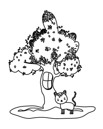 outline cute cat animal and tree with window