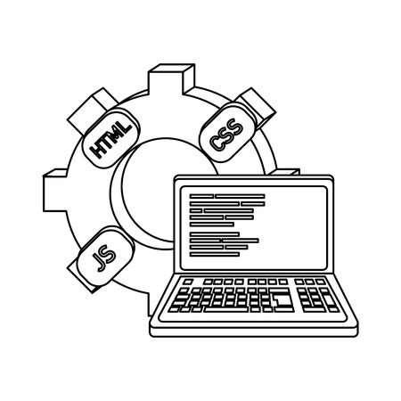 outline industry gear and loptop code program vector illustration