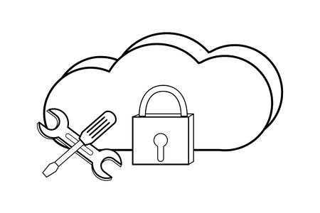 outline cloud data network and padlock equipment Illustration