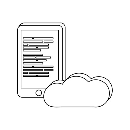 outline smartphone and cloud data with programming code vector illustration 일러스트