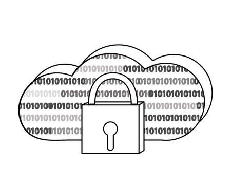 outline close padlock and data cloud conection