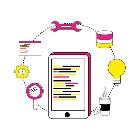 smartphone programming code and industry equipments vector illustration