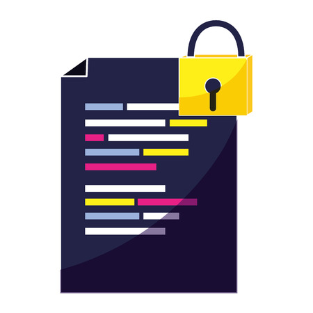document with program code and closed padlock vector illustration Ilustrace