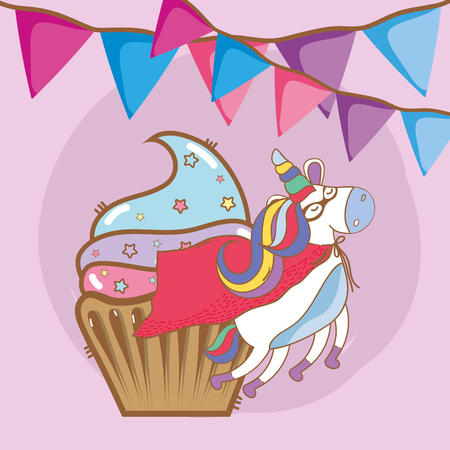birthday, party, unicorn, birthday party with unicorn cartoon vector illustration graphic design