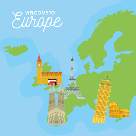 Welcome to europe card with monument and building vector illustration graphic dsign