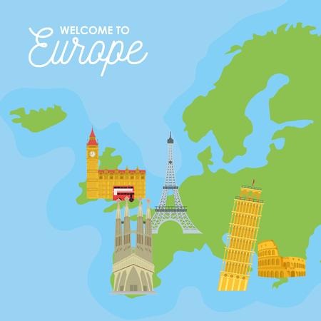 Willkommen bei der Europa-Karte mit Denkmal- und Gebäudevektorillustrationsgrafik Vektorgrafik