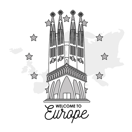 Welcome to europe card with monument and building vector illustration graphic dsign Vectores