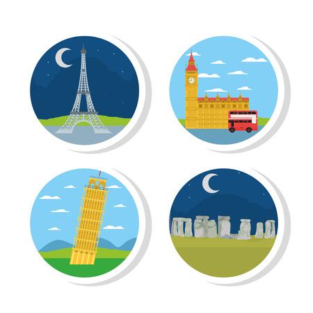 Set of europe monuments Illustration